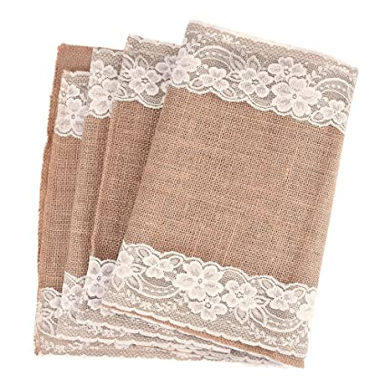 Amazon.com: Outus Burlap Lace Table Runner Hessian Table Cloth for ...