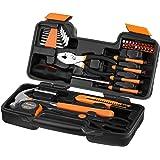 VonHaus Orange 39-Piece Homeowner Tool Set - General Household Hand Tool Kit with Plastic Toolbox Storage Case