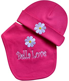 6f590cec8 Amazon.com: Personalized Embroidered Baby Girl Hat with Grosgrain ...