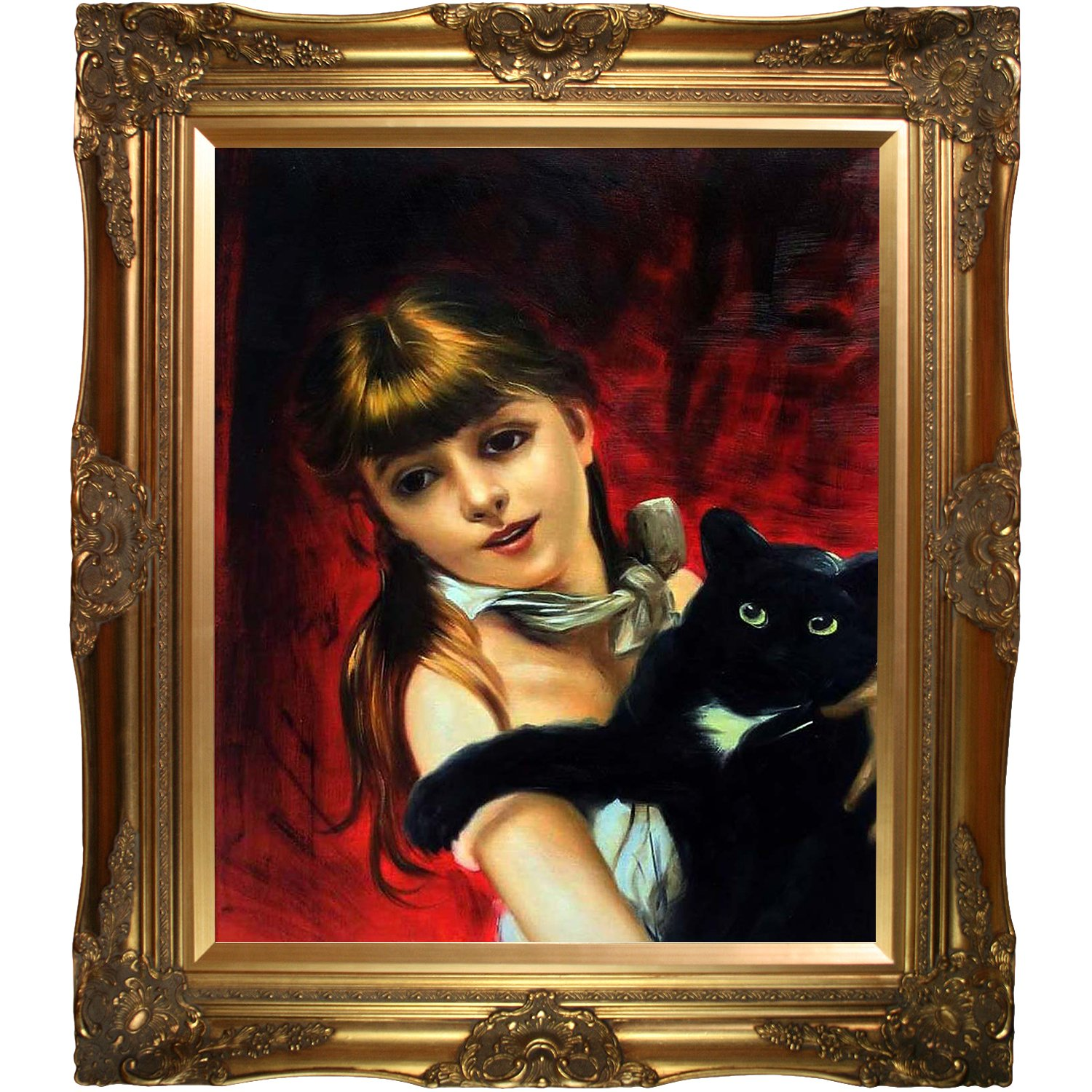 overstockArt Girl with Black Cat Hand Painted Oil with Victorian Gold Frame 1885 by Giovanni Boldini