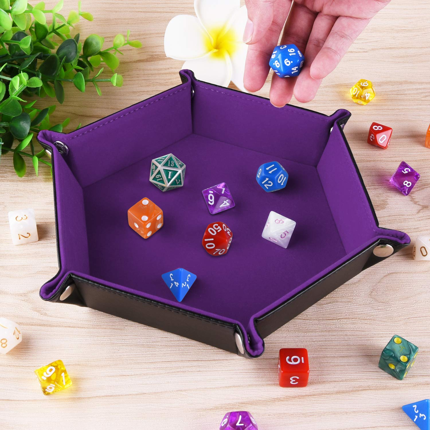 Folding Hexagon PU Leather and Dark Violet Velvet Dice Holder for Dungeons and Dragons RPG Dice Gaming D/&D and Other Table Games SIQUK Double Sided Dice Tray