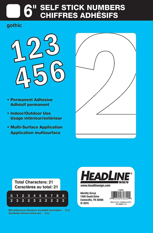 Headline Sign 32622 Stick-On Vinyl Numbers, White, 6-Inch