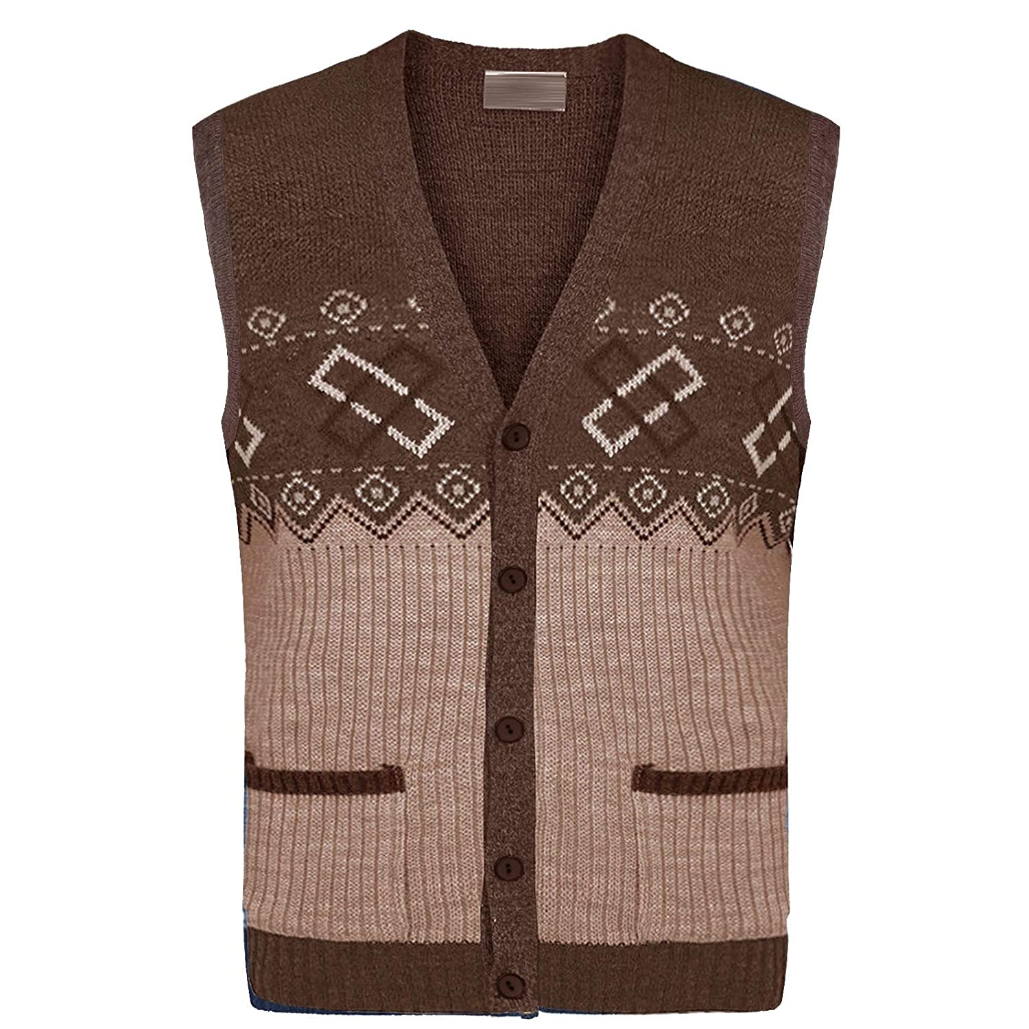 Mens Classic Sleeveless Button UP Cardigan Argyle Knitwear Granddad Sweater TOP Quality Mode