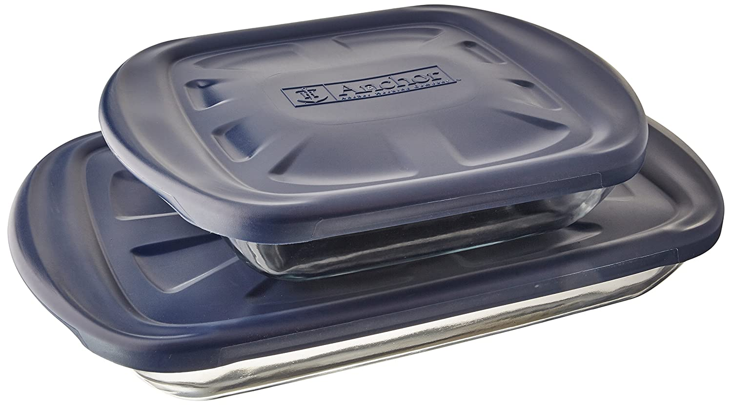 Anchor Hocking 6-Piece Essentials Bake-N-Take Set with Blue Plastic Lid and Blue Tote 92099L11