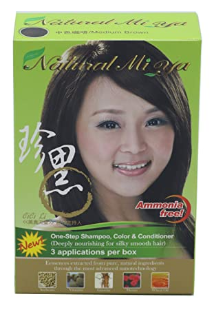 Natural Mi Ya Hair Color, Herbal Hair Dye & Hair Nutritions by Extracted  Ginseng,Henna Hair Color Colorants, Permanent, Medium Brown (1 Pack)