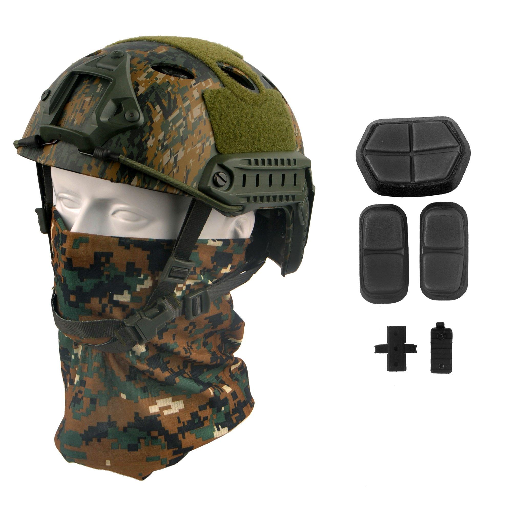 LOOGU Fast PJ Base Jump Military Helmet with 12-in-1 Headwear(AOR2) by LOOGU