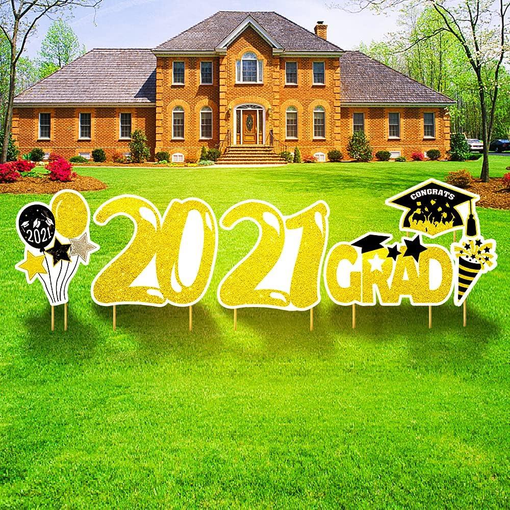 Gukasxi Graduation Yard Sign Decorations 2021 Grad Congrats Grad Outdoor Lawn Decor with Stakes Party Outdoor Decoration Waterproof Graduation Party Supplies