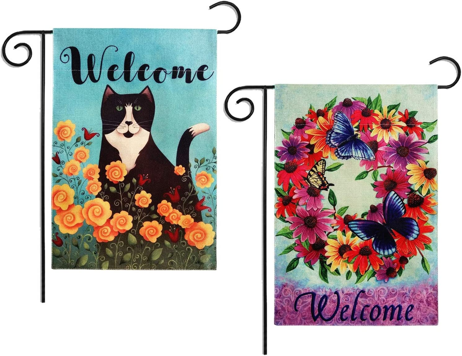 2 Pack Sweet Home Floral Garden Flag Welcome Vertical Double Sided Spring Summer Rustic Farmhouse Burlap Outdoor Yard Flags Decorative 12 x 18 Inch