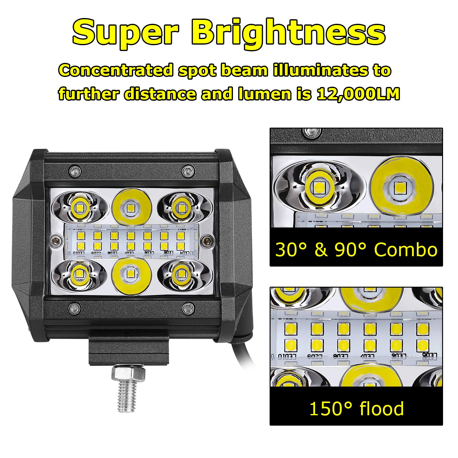 Yvoone-Auto LED Pods Light Bar 4 Inch 120w 12000lm Driving Fog Off Road Lights Triple Row Waterproof Spot Flood Combo Beam LED Cubes Lights For Pickup Truck Jeep ATV UTV SUV Boat,2 PACK