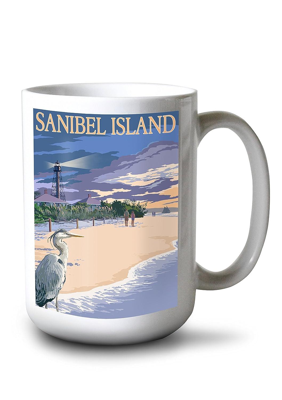 サニベル島、フロリダ州 – 灯台 15oz Mug LANT-3P-15OZ-WHT-46785 B077RSS77Y  15oz Mug