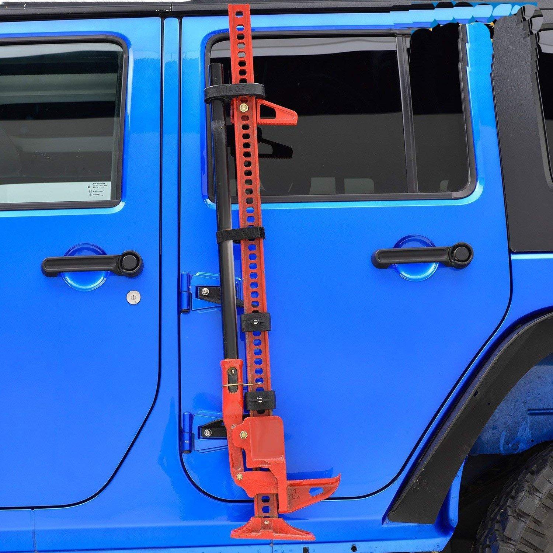 E-cowlboy Hi Lift Jack Mount Hood Hinge Bracket for 2007-2019 Jeep Wrangler JK JL