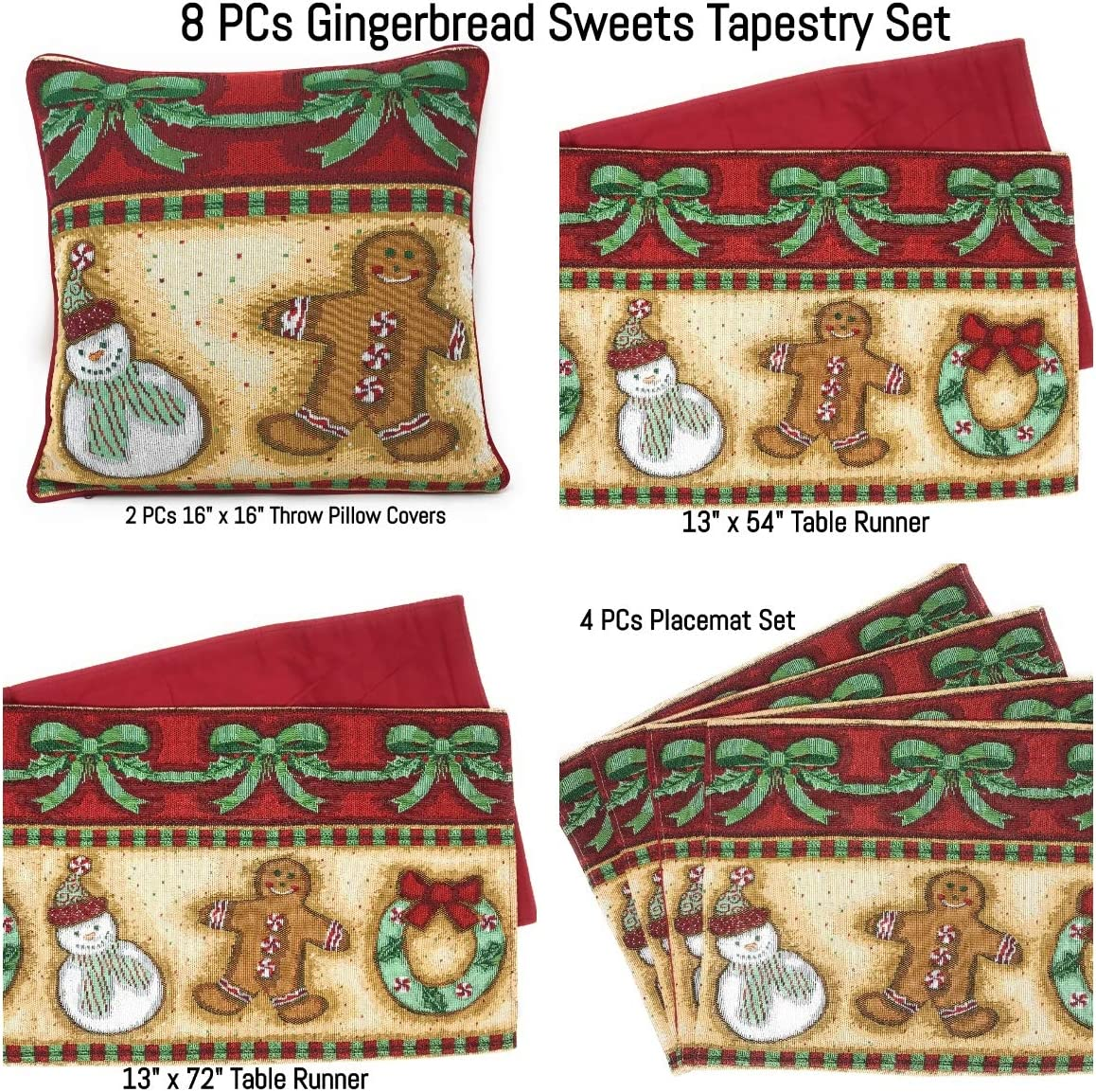DaDa Bedding Gingerbread Christmas Festive Winter Throw Pillow Covers Tapestry