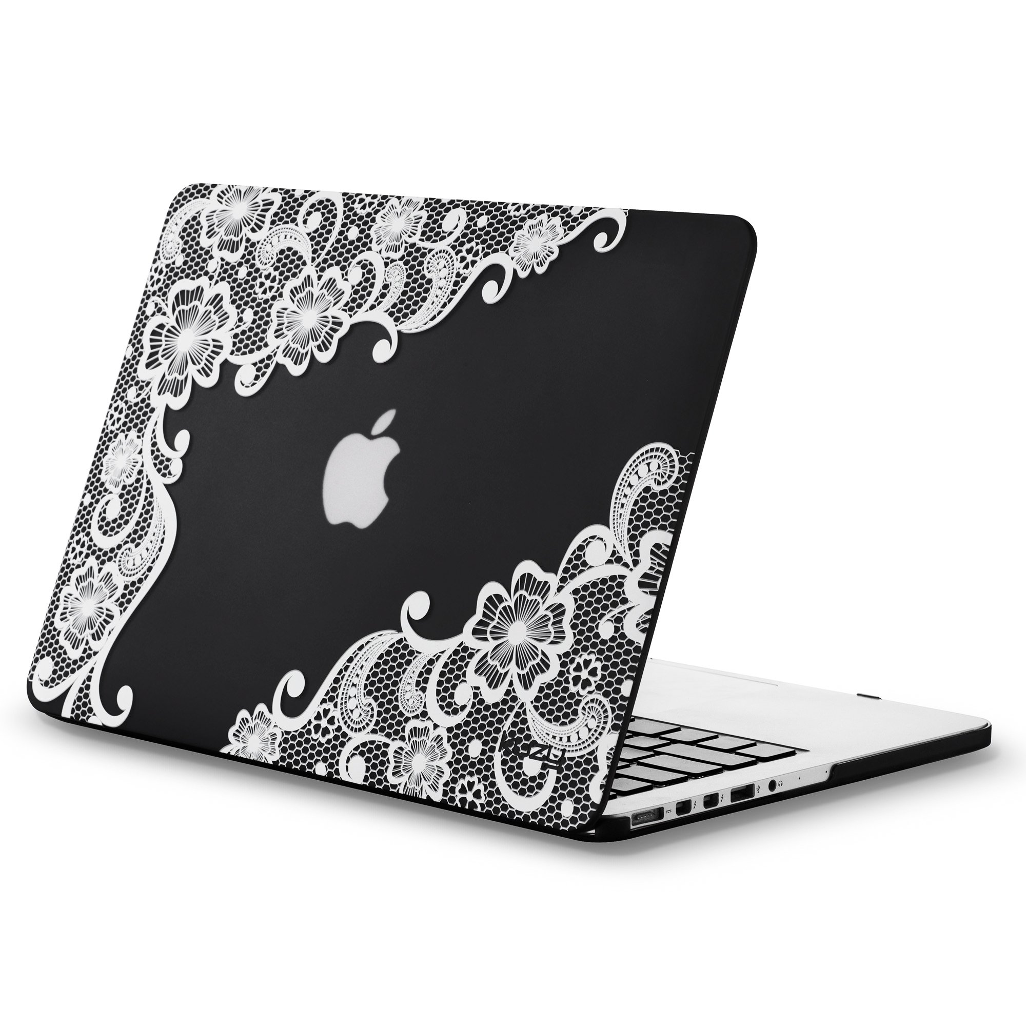 Kuzy - Older Version MacBook Pro 13.3 inch Case (Release 2015-2012) Rubberized Hard Cover for Model A1502 / A1425 with Retina Display Shell Plastic - Lace Black