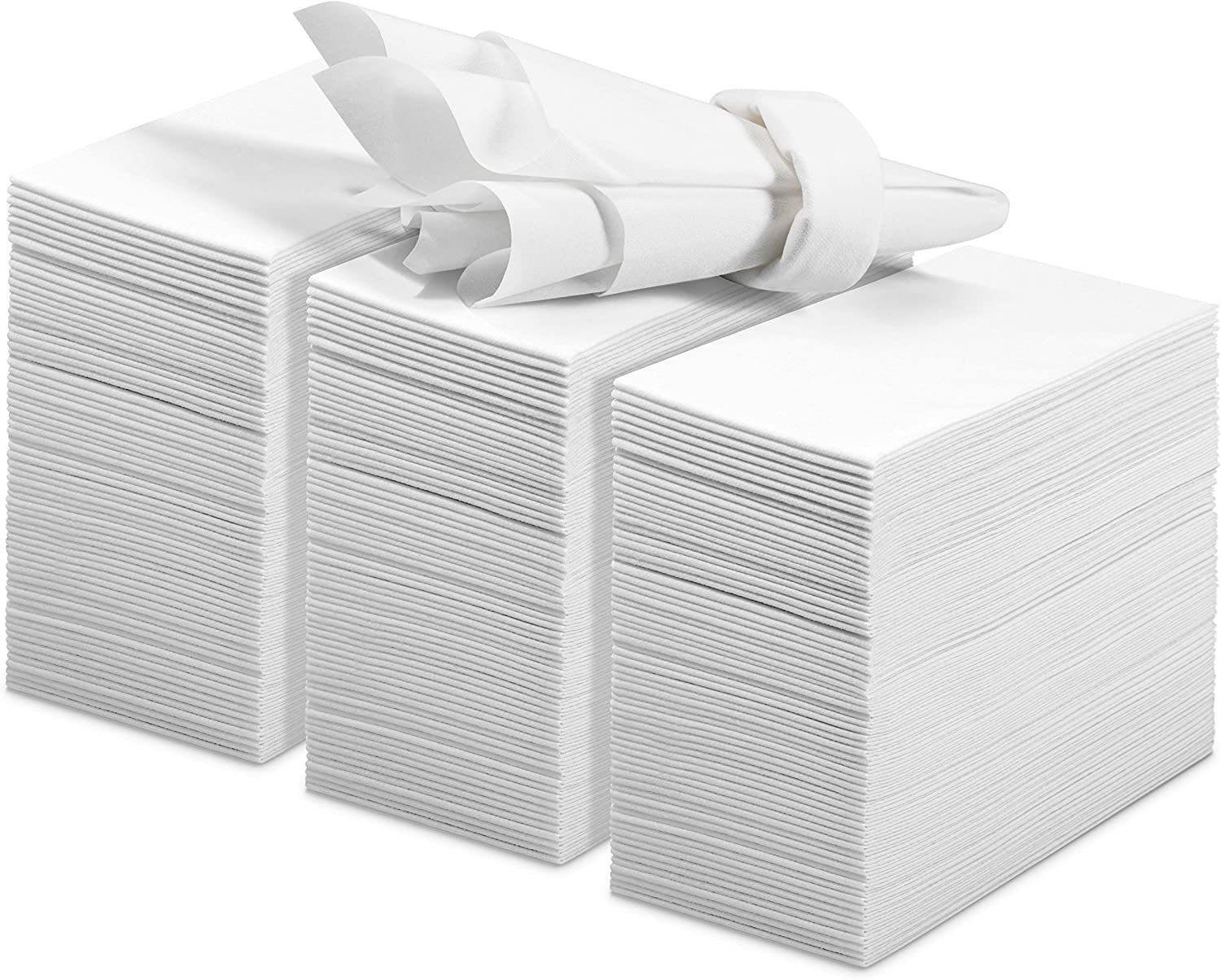 200 Linen Feel Guest Towels Disposable Cloth Like Hand Napkins Soft and Absorbent Paper Hand Towels for Kitchen, Bathroom, Parties, Weddings, Dinners or Events White