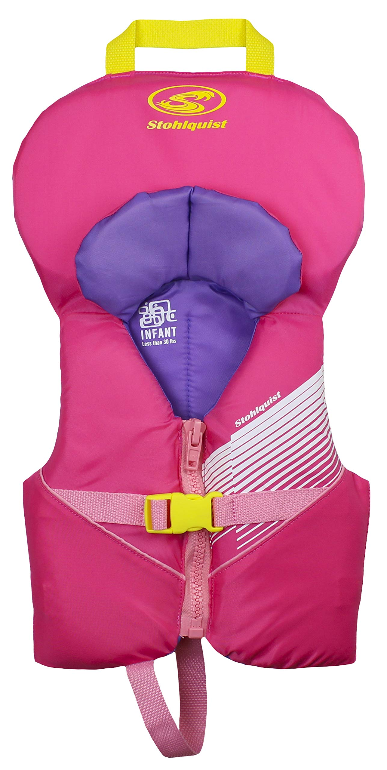 Stohlquist Waterware Toddler Life Jacket Coast Guard Approved Life Vest for Infants, Pink/Purple, 8-30 Pounds
