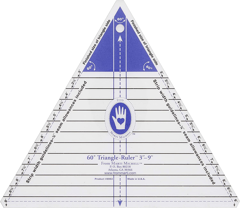2-Inch to 6-Inch Marti Michell 60 Degree Triangle Ruler