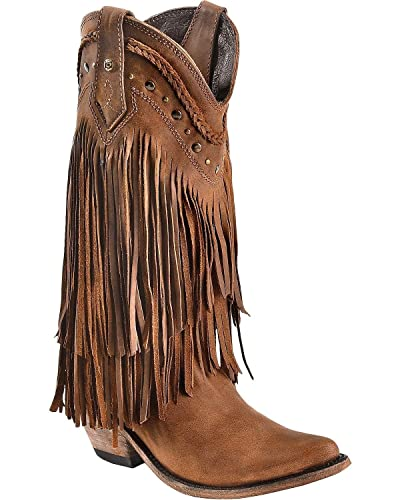 2984b6f4d44e LIBERTY BLACK Women s Vegas Fringe Boot Pointed Toe Dark Brown 5 ...