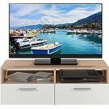 TV-Lowboard Fernsehschrank Fernsehtisch RASANT   Eiche Sonoma   weiß   95x35x36 cm