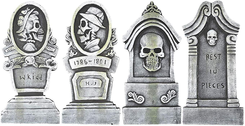 Sunstar Skull Design Foam Halloween Graveyard Tombstone Yard Decor, Set of 4, 16 Inch