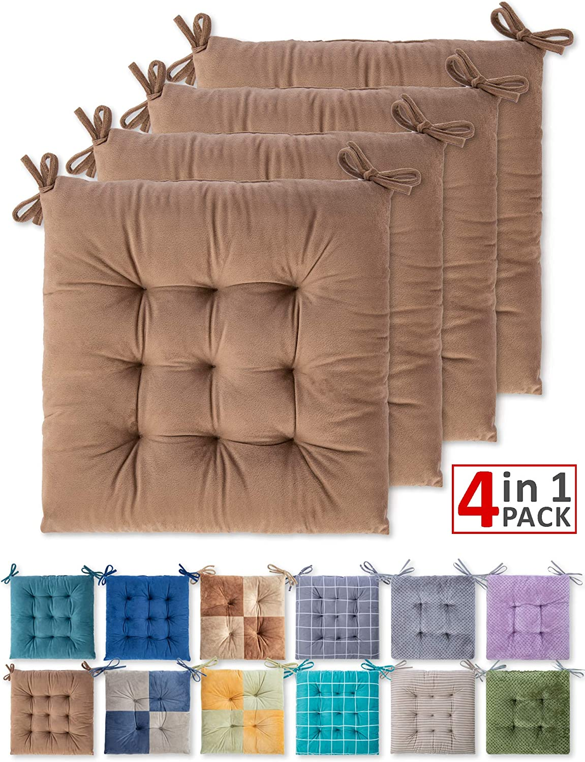 WONDER MIRACLE 4 Pack Seat Cushion/Chair Cushion Pads for Dining Chairs, Office Chair, Car, Floor, Outdoor, Patio,Machine Wash & Dryer Friendly (Flannel 16
