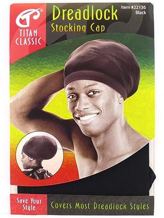 Amazon.com   Titan Classic Dreadlock Stocking Cap - Black   White ... ca6c6ba2e12