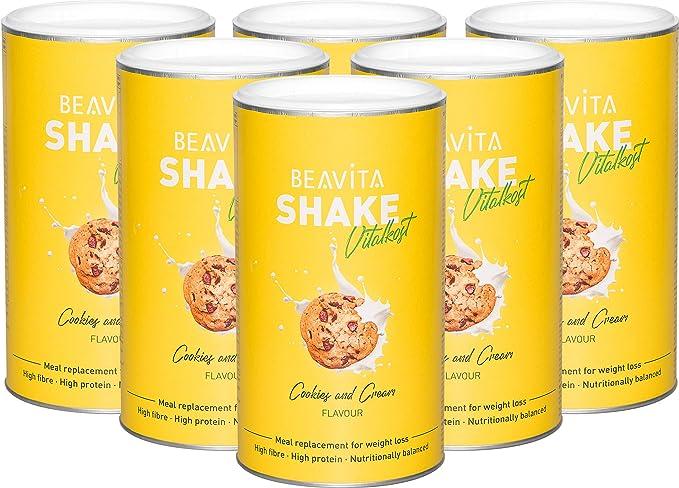 Batidos para adelgazar sabor Cookies & Cream 6x 572 g – Sustitutivo de comida proteico – Batido saciante de apetito – Para perder peso y mantener ...
