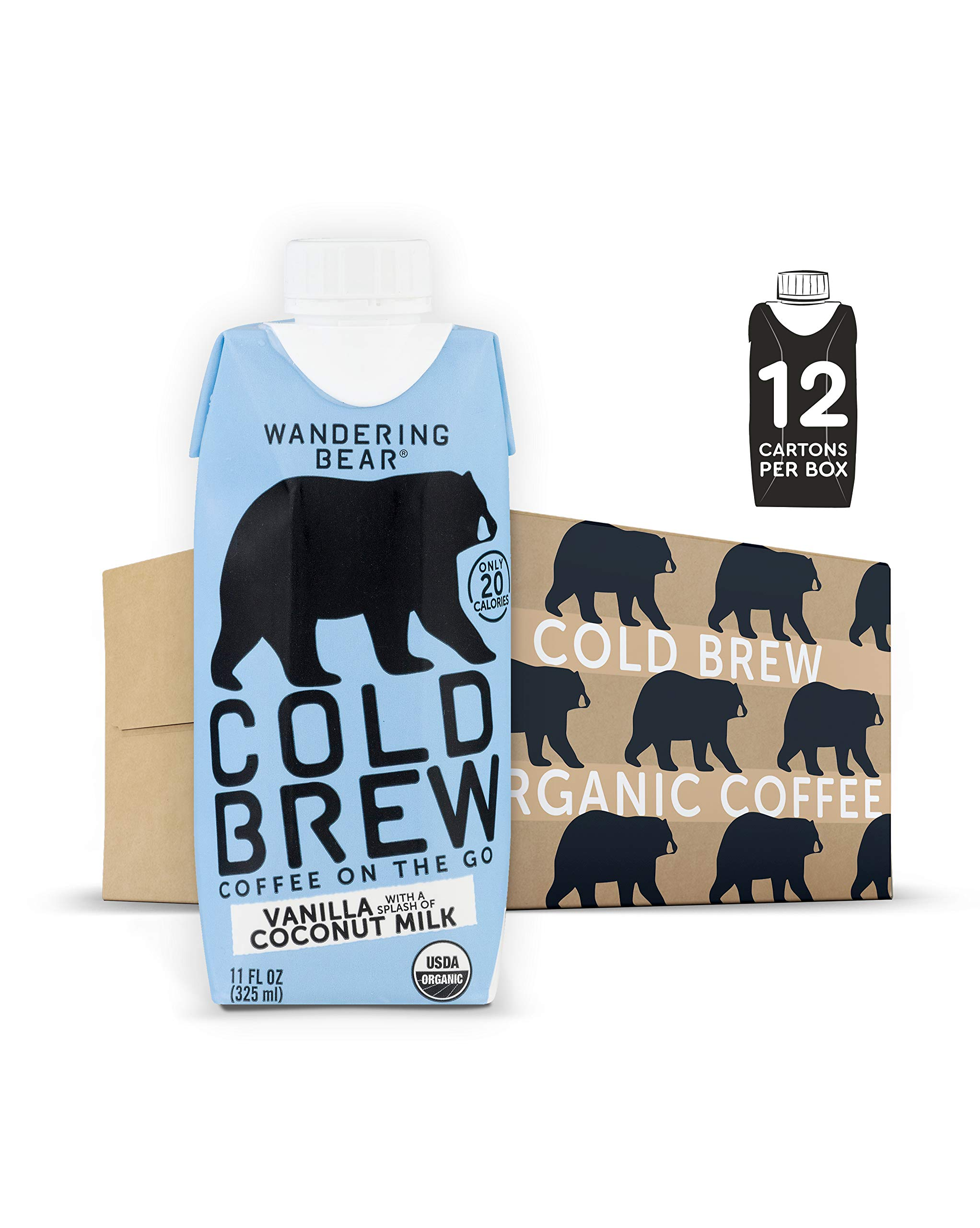 Wandering Bear Organic Cold Brew Coffee On-the-Go 11 oz Carton, Vanilla w/ Splash of Coconut Milk, No Sugar, Ready to Drink, Not a Concentrate (Pack of 12)