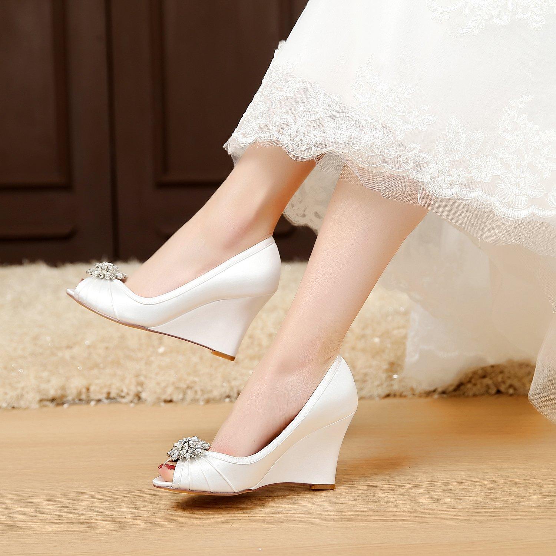YOOZIRI Ivory Wedding Shoes Wedges with Silver Rhinestone Brooch ...