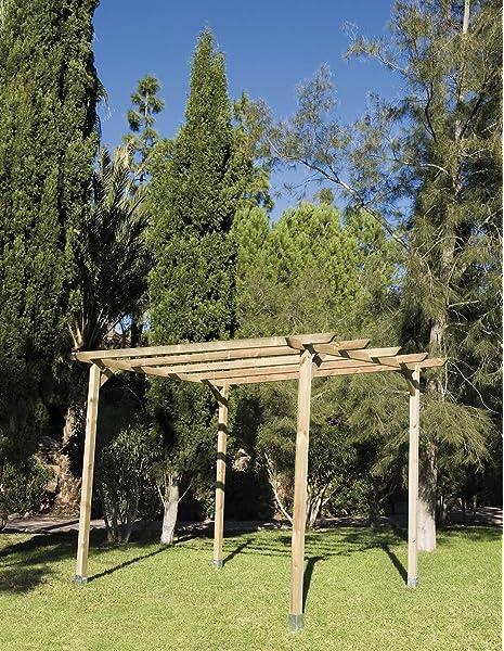 mewmewcat Pérgola cobertizo Madera FSC,Pérgola para Jardín con Techo Inclinado de Madera de Pino FSC 2x5x2,2 m: Amazon.es: Hogar
