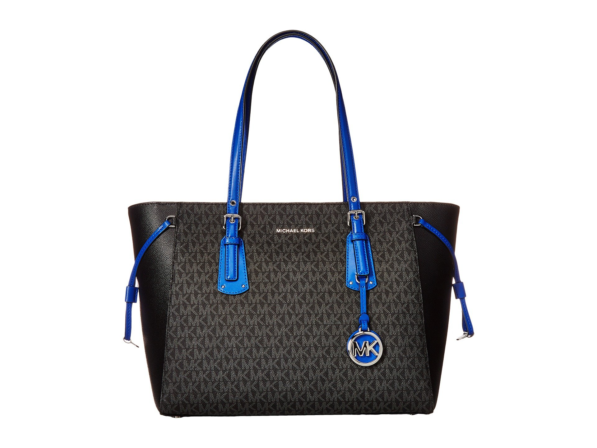 MICHAEL MICHAEL KORS Large Voyager Two Tone Tote, Black/Electric Blue by Michael Kors