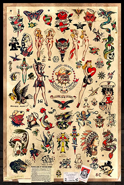 Amazon.com: Sailor Jerry Tattoo Flash (estilo B) Cartel 24 x ...