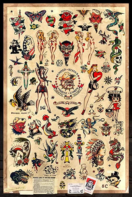 Amazon.com: Sailor Jerry Tattoo Flash (Style B) Poster 24x36\