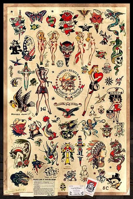 d56bedb79 Amazon.com: Sailor Jerry Tattoo Flash (Style B) Poster 24x36