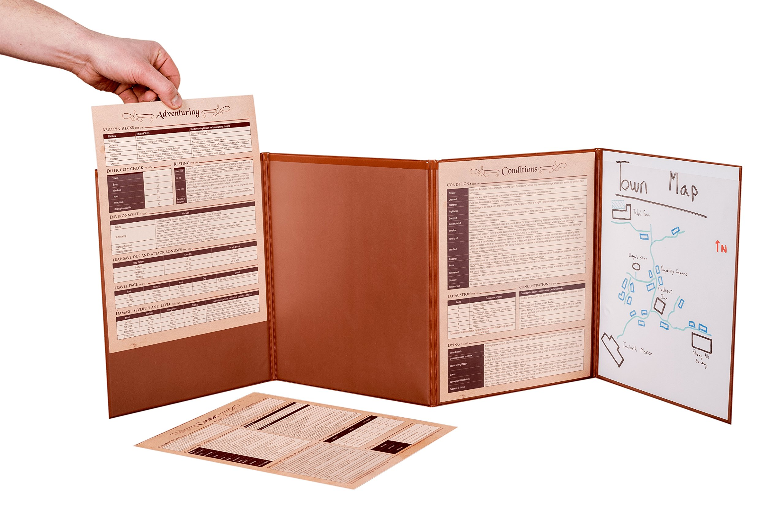 Hexers Game Master Screen - Dungeons and Dragons D&D DND DM Pathfinder RPG Role Playing Compatible - 4 Customizable Panels - Inserts Included That Slide into The Pouches - Dry Erase Tracker Sheet by Hexers (Image #3)