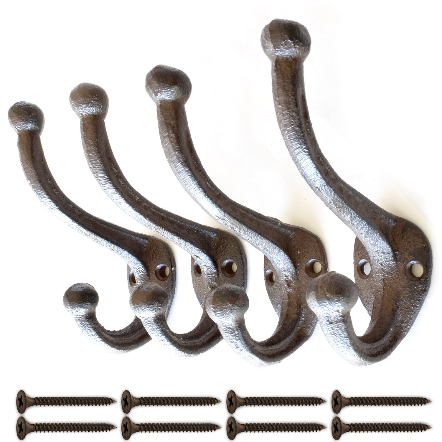 Set of 4 Rustic, Cast Iron, Wall Mounted Hooks, Vintage Inspired, Perfect for Coats, Bags, Hats, Towels, Scarfs and more | Screws Included | by My Fancy Farmhouse (Large Simple, Dark Brown/Black) Premium Home Quality
