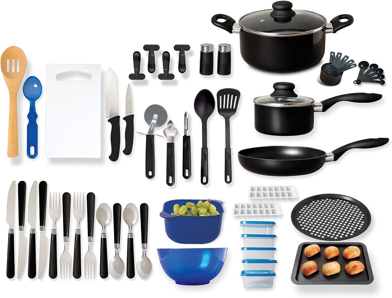 Amazon Com Gibson Home Back To Basics Nonstick Aluminum Cookware Set 59 Piece Black Cookware Sets Kitchen Dining