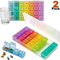 Organizador Semanal de Píldoras - Paquete de 2-4 compartimentos Am/Pm Pill Box, Estuche Grande para Medicamentos de Viaje de 7 Días para Vitaminas, Suplementos y Medicamentos.