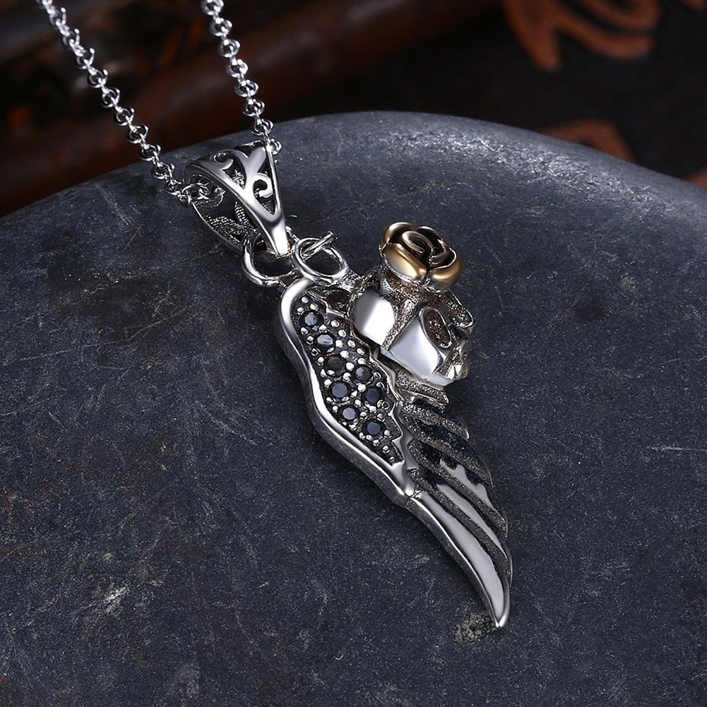 myazs8580 LEKANI S925 Sterling Silver Fashion Trend Wing Necklace Personality Retro Collarbone Chain Jewelry SVN203.