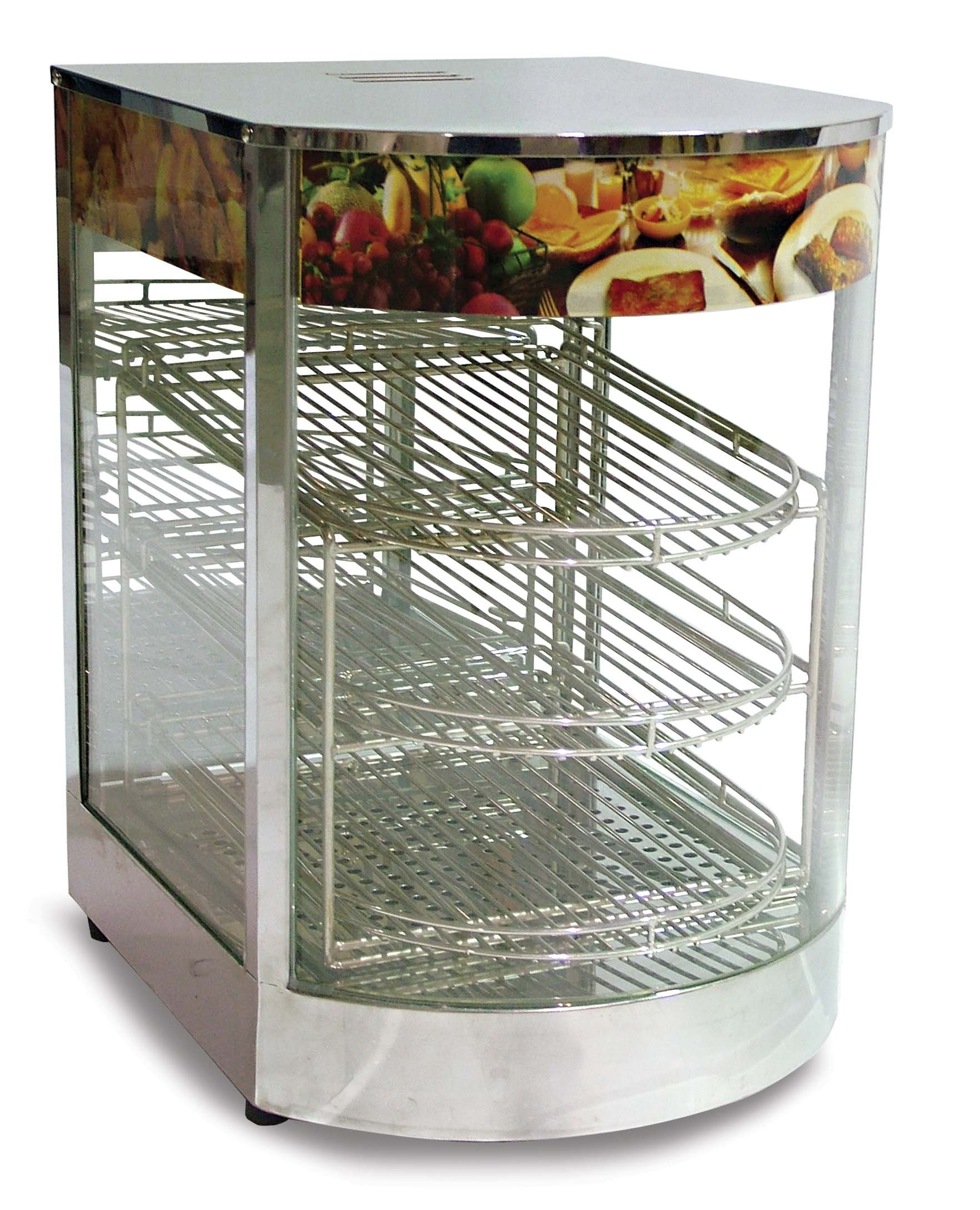 Omcan 21829 Commercial Counter Top Pizza Food Warmer Display Case 3 Shelf's