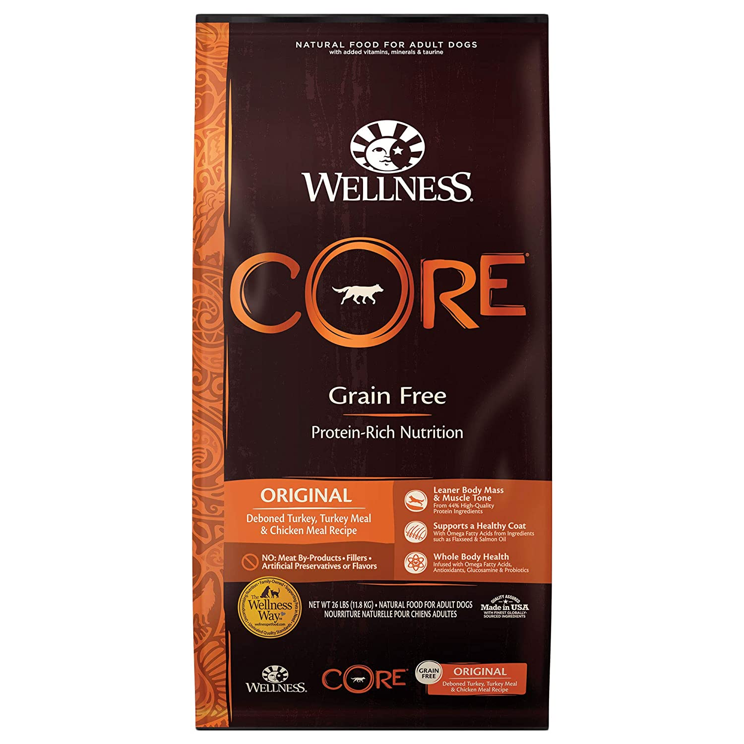 4.Wellness Core Natural Grain-Free Dry Dog Food Original Turkey & Chicken
