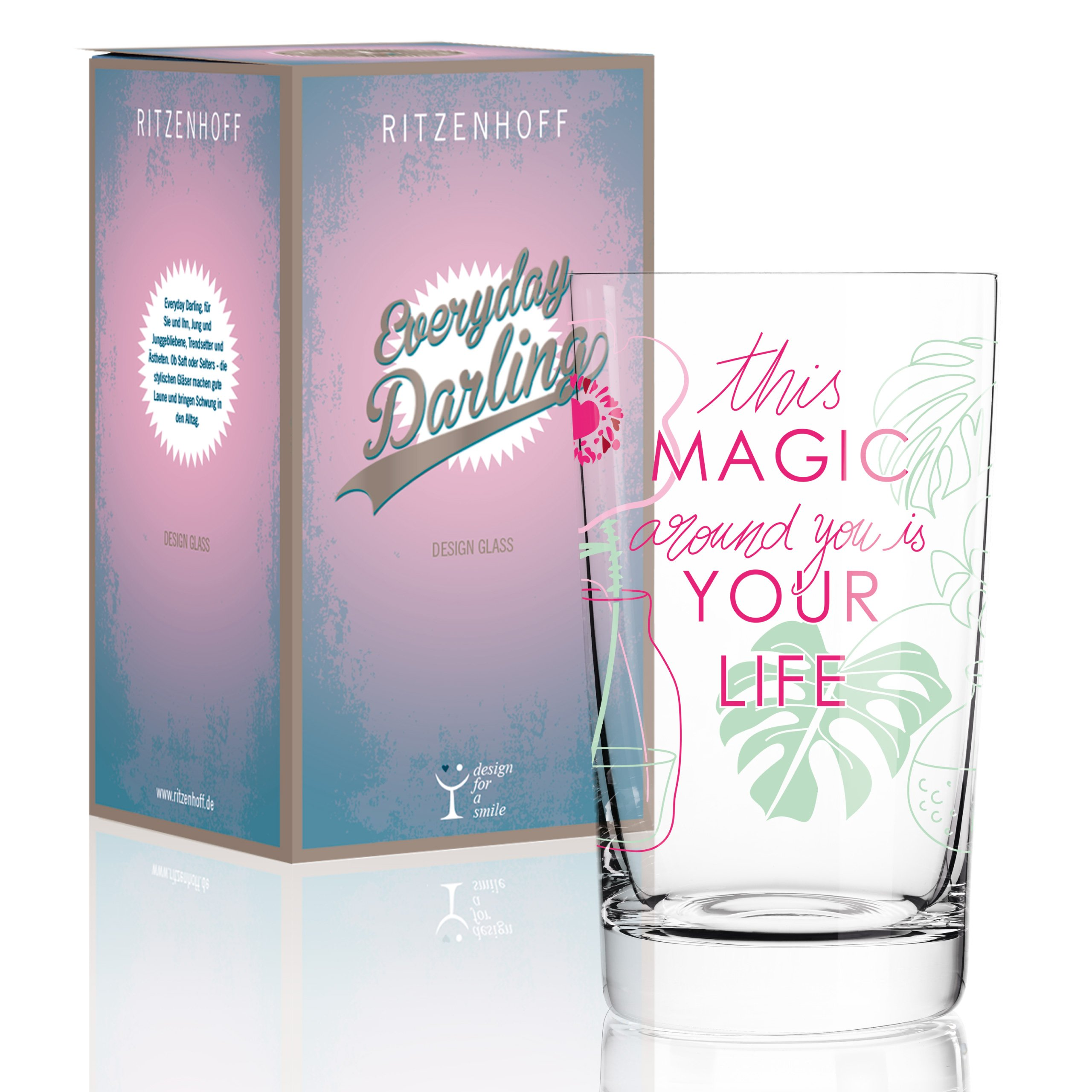 Ritzenhoff Everyday Darling Softdrinkglas, Crystal, grün/rosa, 7.3 x 7.3 x 12.7 cm