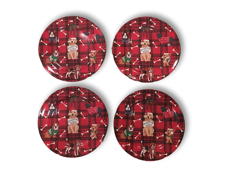 Dog Lover Red Plaid Poinsettia Santa Snowman or Angel Christmas Melamine Plate Set of 4