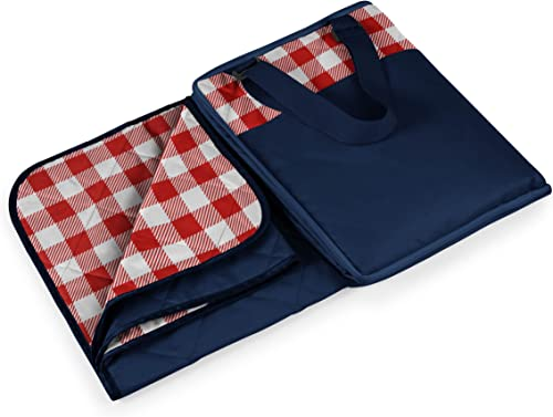 Picnic Time Vista Outdoor Picnic Blanket, Navy with Red Check