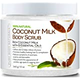 Pure Body Naturals Coconut Milk Body Scrub with Dead Sea Salt, Almond Oil and Vitamin E for All Skin Type, 12 oz.