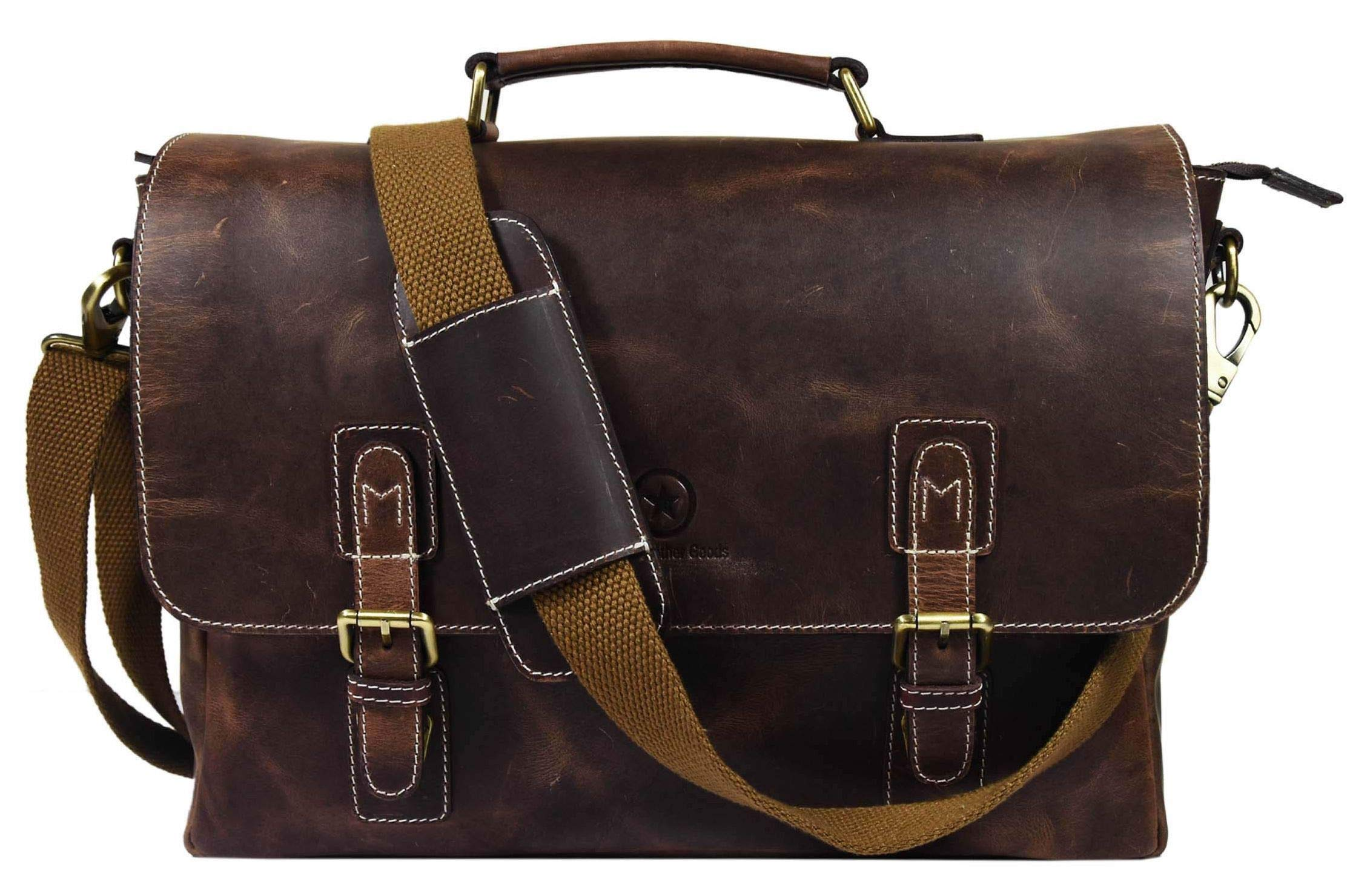 Vintage Leather Messenger Cross-body Bag, By Aaron Leather