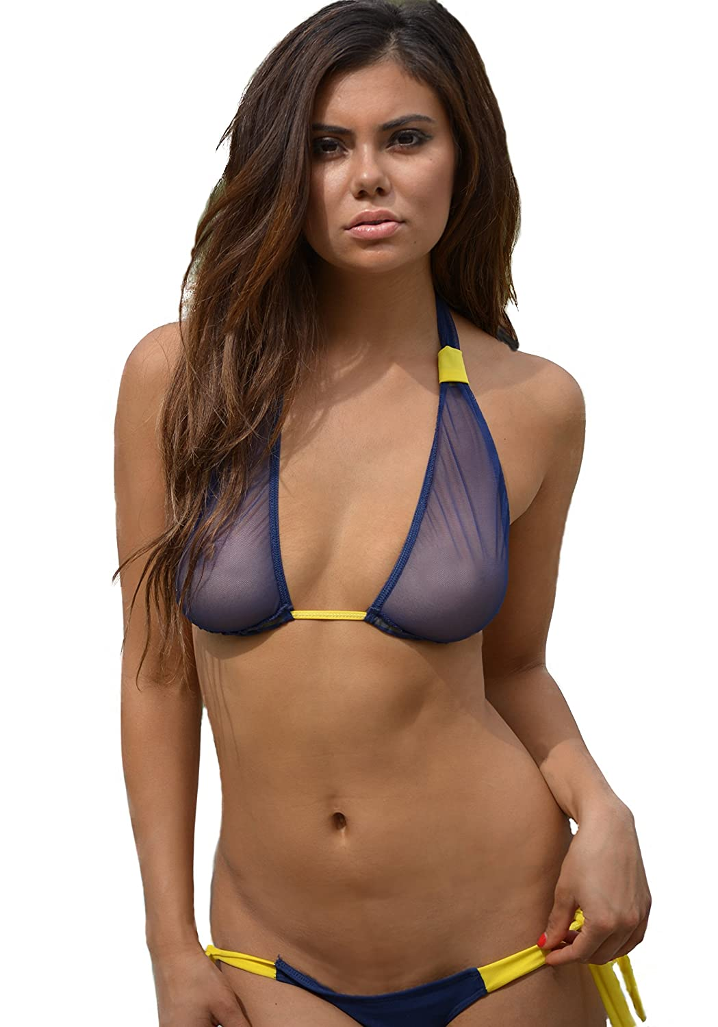 05451e0f70de3 Amazon.com: Floral Paradise Mesh Bikini Halter Top Navy Blue: Clothing
