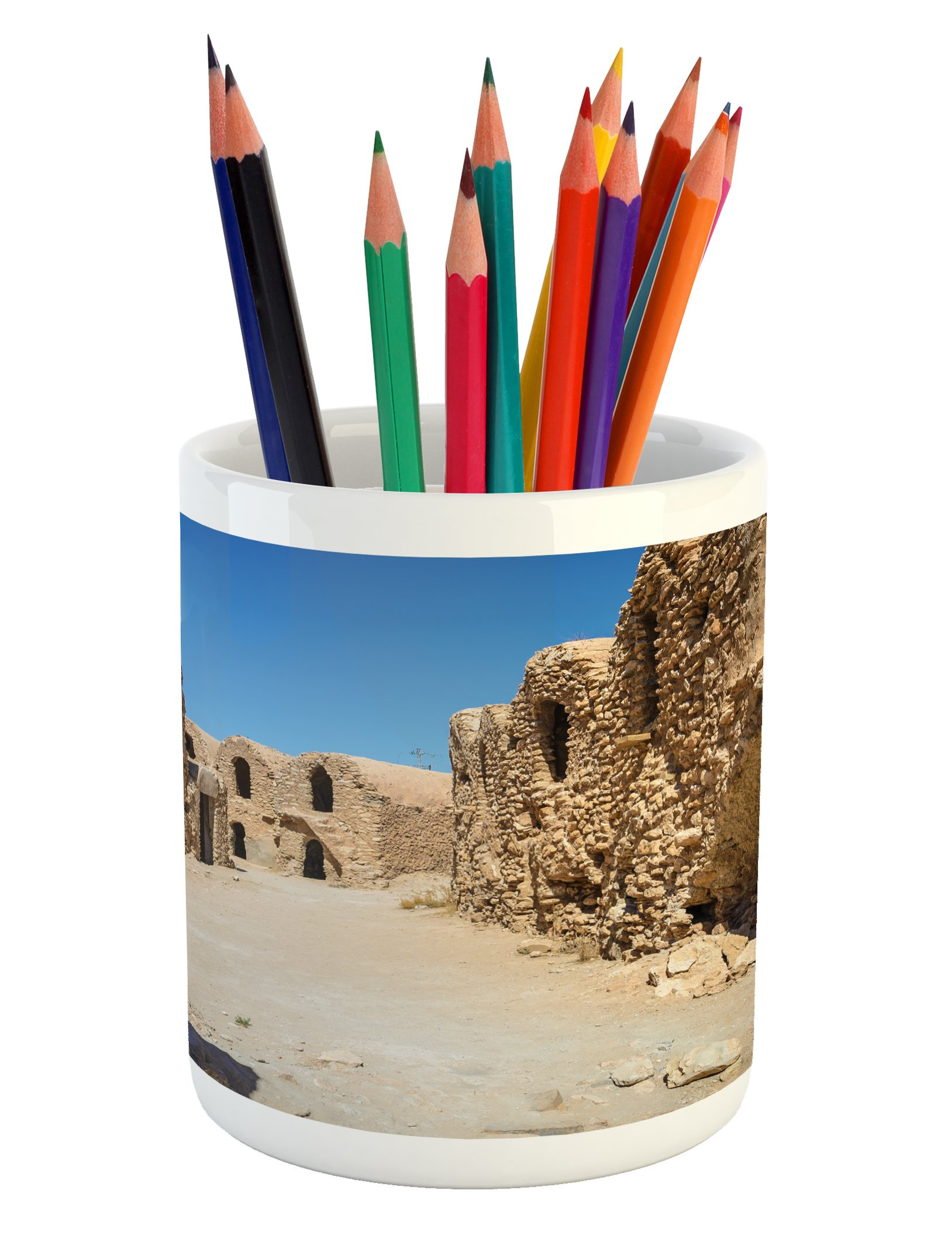 Ambesonne Galaxy Pencil Pen Holder, One of Abandoned Sets of the Movie in the Desert Phantom Menace Antique Cave Houses, Printed Ceramic Pencil Pen Holder for Desk Office Accessory, Brown Blue