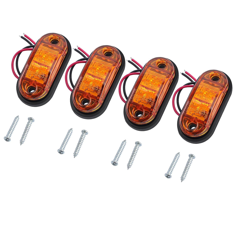 Justech 4 x Luci di Posizione Luci Laterali Luci di Posizione Indicatore LED Fanali Posizione Universale per 12V 24V Auto Rimorchio Camion Autocarro Caravan Bus Colore Ambra