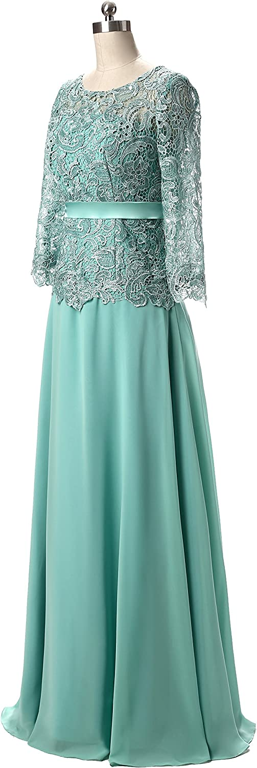 Butmoon Womens Chiffon and Lace Long Mother of The Bride Dresses Navy Blue US 16