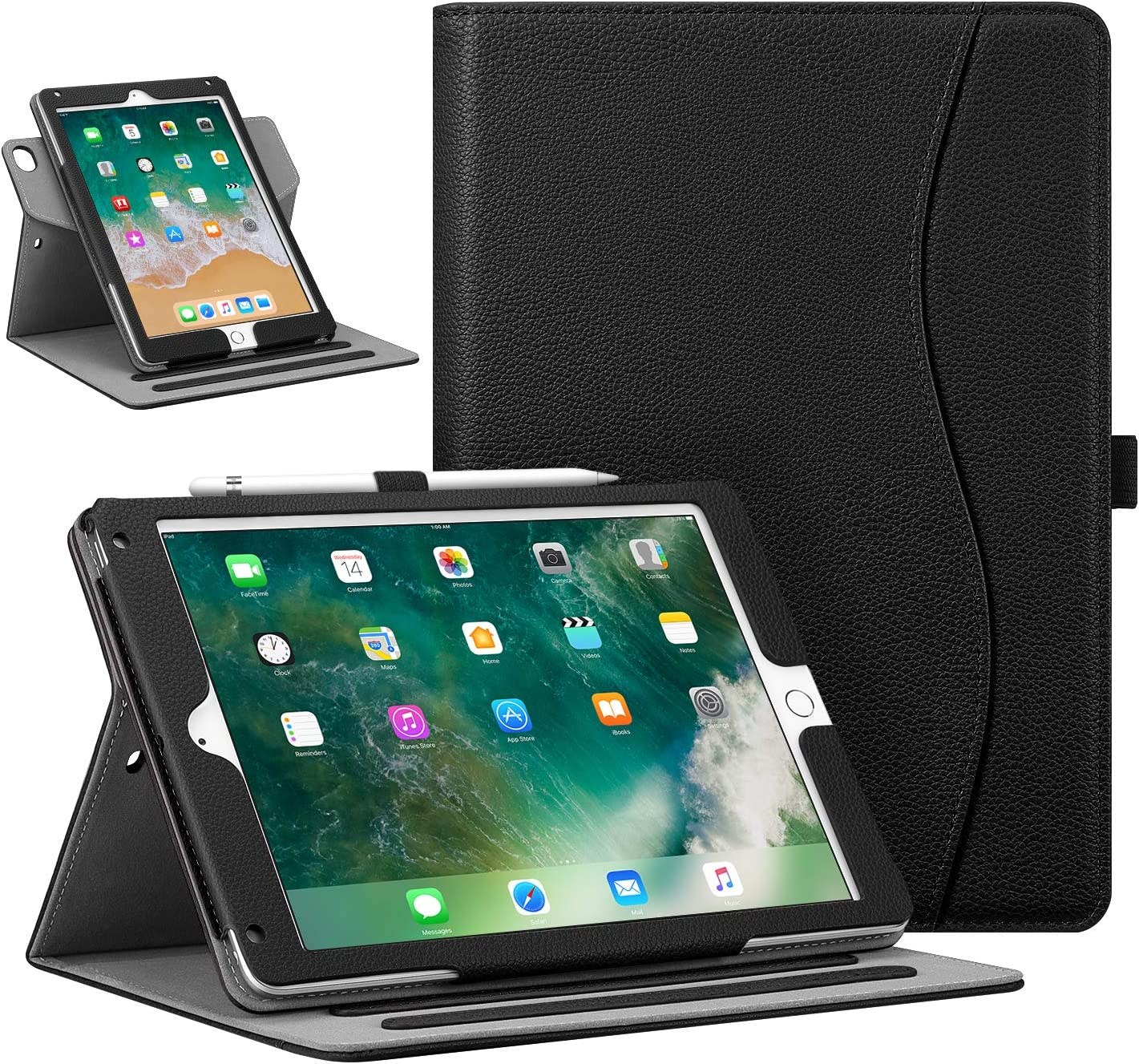 """Fintie Case for iPad 9.7"""" 2018/2017, iPad Air 2 / iPad Air - [Corner Protection] 360 Degree Rotating Smart Stand Cover with Pocket, Pencil Holder, Auto Sleep/Wake for iPad 6th / 5th Gen, Black"""